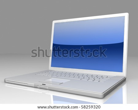 professional Laptop on gray background with reflection - stock photo