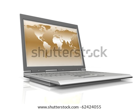 professional Laptop on white background with reflection - stock photo