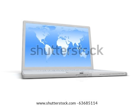 Professional Laptop on white background with reflection