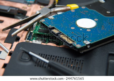 Professional laptop repair - stock photo