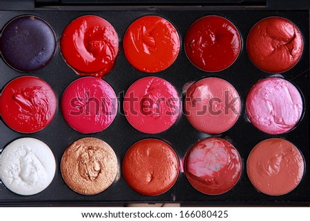 professional lipstick pallet/the make up pallete - stock photo
