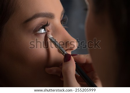 Professional Make-up artist applying make up on a glamour model. - stock photo