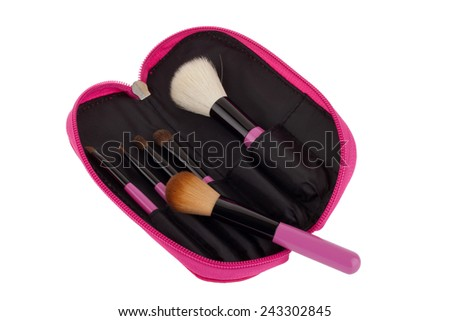Professional make-up brush cosmetic isolated on white background  - stock photo