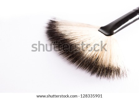 professional make-up brush on white background. macro - stock photo