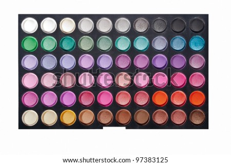 Professional make up eye shadow multicolor palette. Isolated on the white background. - stock photo