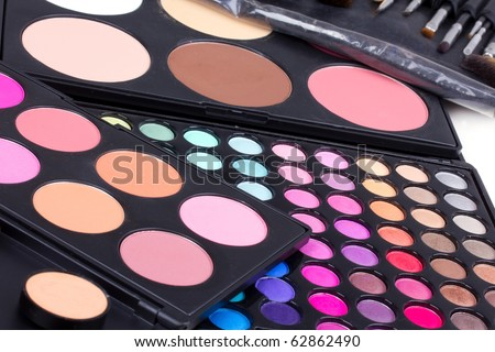 Professional make-up  eyeshadows palettes, closed-up