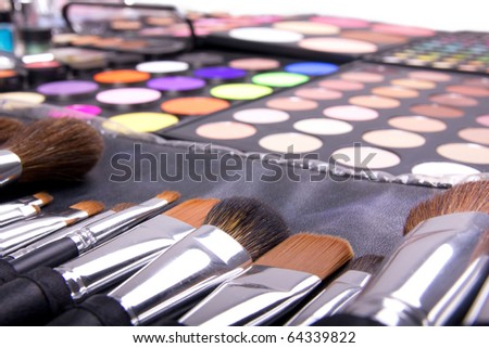 Professional make-up tools, closed-up - stock photo