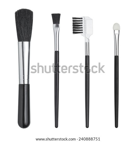Professional makeup brush isolated on white background - stock photo