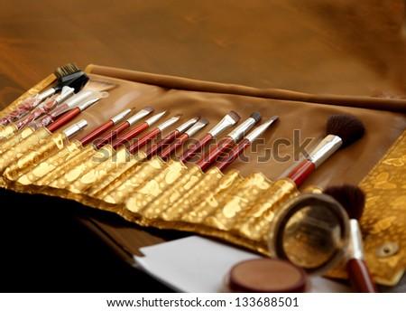 Professional makeup brushes - stock photo