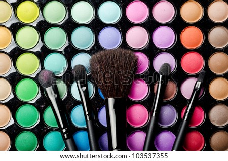 Professional makeup brushes and cosmetics - stock photo