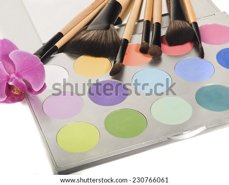Professional makeup palette and brushes  - stock photo