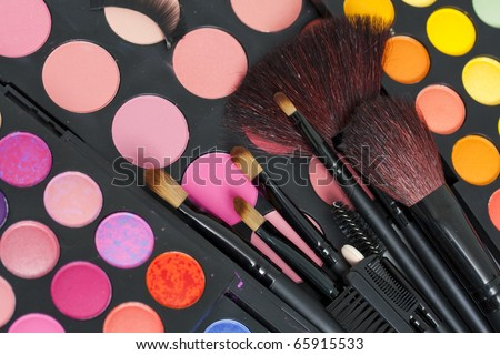 Professional makeup palette and brushes