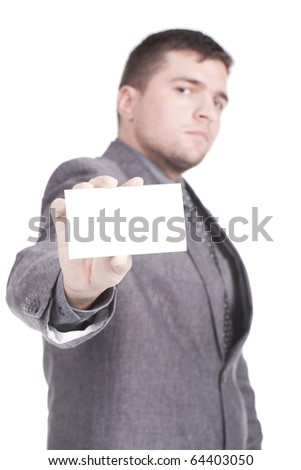 professional man presenting blank business card - stock photo