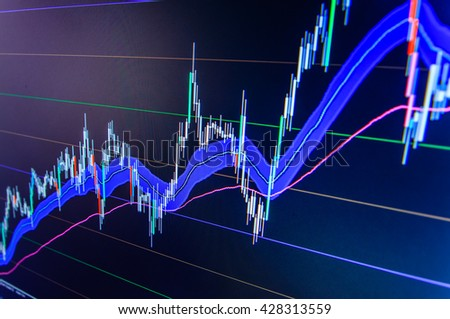 Professional market analysis. Blue background with stock chart. Macro close-up. Business analysis diagram. Stock exchange graph. Finance concept. Abstract financial background trade colorful.   - stock photo