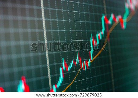 Professional market analysis. New modern computer and business strategy as concept. Background stock chart. Market report on blue background. Market trading screen. Tools of technical analysis.