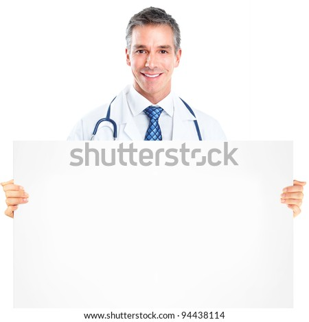 Professional medical doctor with banner. Isolated over white background. - stock photo