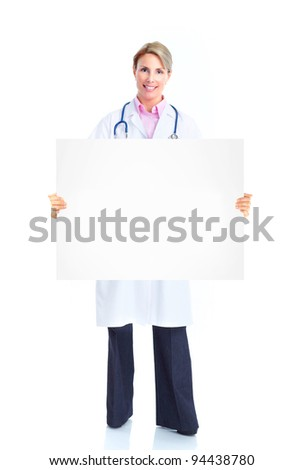 Professional medical doctor with banner. Isolated over white background.