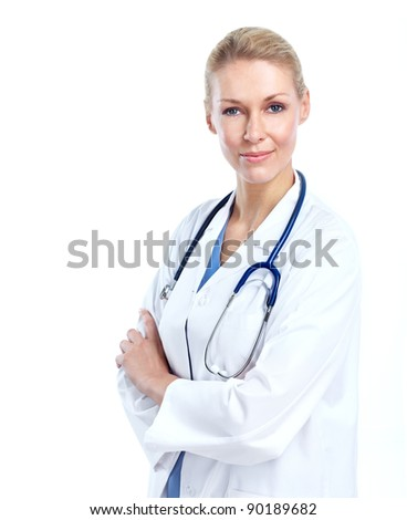 Professional medical woman doctor. Isolated on white background.