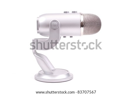 Professional Microphone Against White Background - stock photo