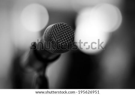 Professional microphone - black and white - stock photo