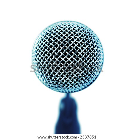 Professional Microphone. Front View (with clipping path for easy background removing if needed)