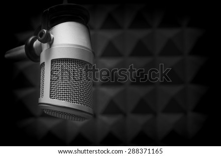 Professional microphone in the radio studio