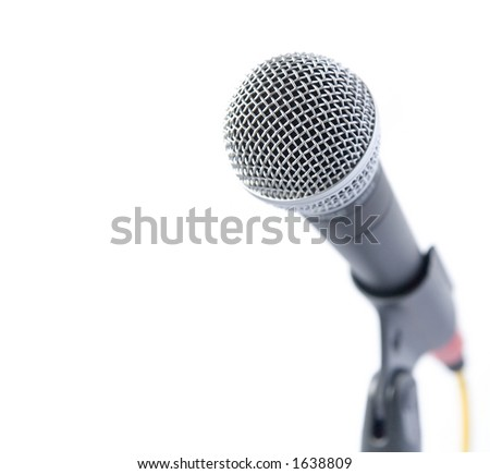 Professional Microphone Isolated (With Text Area) - stock photo