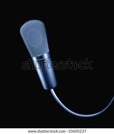 Professional microphone with cable - stock photo
