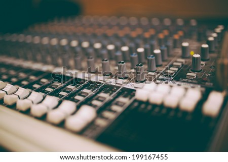 Professional mixers, some retro tone - stock photo