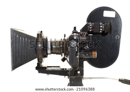 Professional 35 mm the film-chamber on a white background. - stock photo