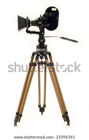 Professional 35mm the movie camera and tripod.