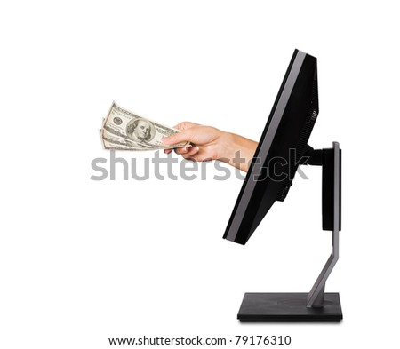Professional monitor with hand holding money dollars isolated on white background