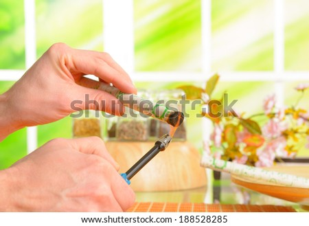 Professional moxa stick in hands of practitioner with fire and lighter. - stock photo