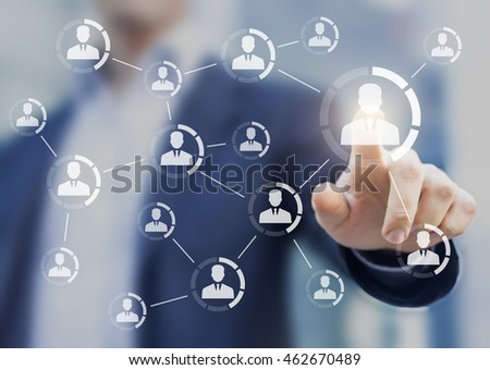 Professional networking concept with icons of business people connected together symbolizing a team or a group of colleagues