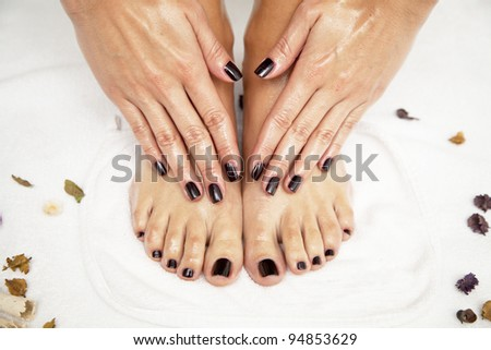 Professional pedicure at the spa - stock photo