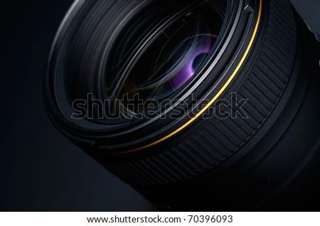 professional photo lens closeup - stock photo