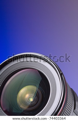 Professional photo lens - Objective with lens reflections - stock photo