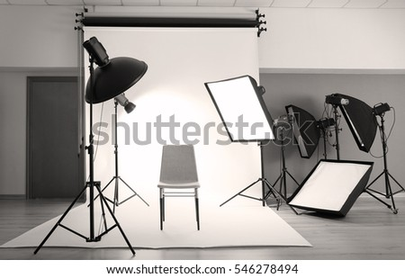 Professional photo studio with lighting equipment & Professional Photo Studio Lighting Equipment Stock Photo (100% Legal ...