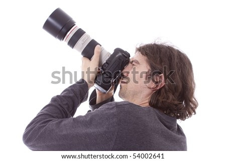 professional photographer isolated on white - stock photo