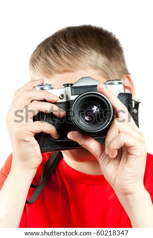 Professional photographer isolated on white. Portrait of young teenager - stock photo