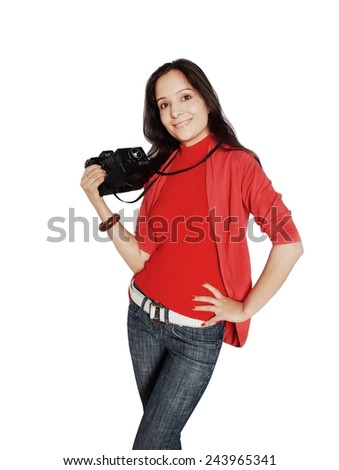 Professional photographer ready to shoot with polaroid camera in hand. - stock photo