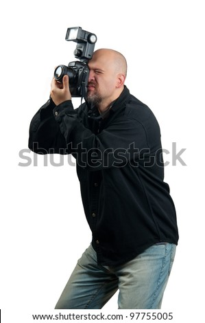 Professional photographer taking photos isolated on white. - stock photo