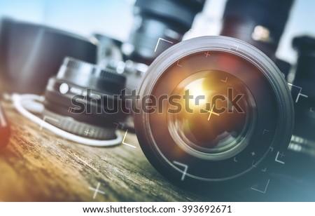 Professional Photography Equipment. Professional Photographer Work Kit. Photo Lenses.  - stock photo