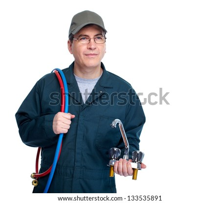 Professional plumber with faucet. Isolated on white background. - stock photo