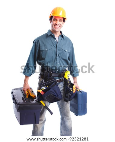 Professional plumber with tools. Isolated on white background. - stock photo