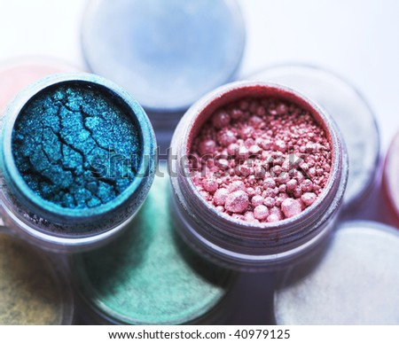 Professional powder eye-shadows of bright colors - stock photo