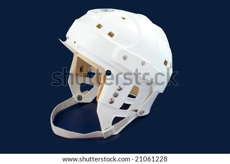 professional protective hockey helmet for  protecting one's head, on a dark blue background