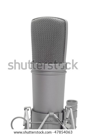 Professional recording microphone on the white background - stock photo