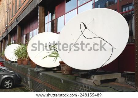 Professional satellite antennas - stock photo