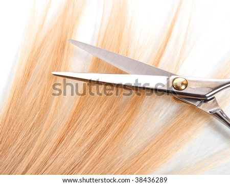professional scissors on lock of hair